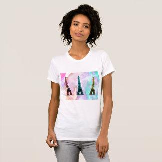 Camiseta T-shirt da arte da garrafa da torre Eiffel