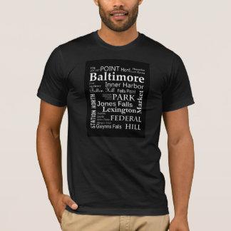 Camiseta T-shirt da arte da palavra de Baltimore no preto