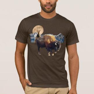Camiseta T-shirt da arte do búfalo, da lua & dos animais