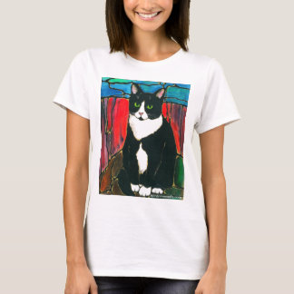 Camiseta T-shirt da arte do design do vitral do gato do