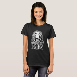 Camiseta T-shirt da arte gráfica da cara do galgo afegão