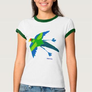Camiseta T-shirt da arte: Papagaio e pássaros