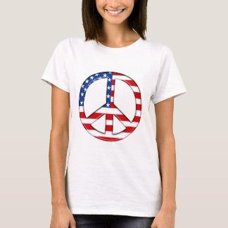 Camiseta T-shirt da bandeira americana de sinal de paz