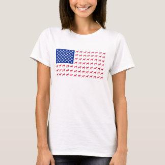 Camiseta T-shirt da bandeira americana do Vizsla das