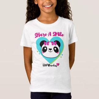 Camiseta T-shirt da boneca da panda dos corações & dos