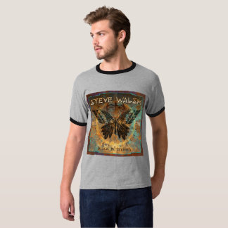 Camiseta T-shirt da borboleta do preto da campainha dos