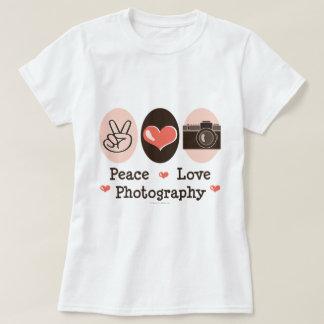 Camiseta T-shirt da câmera da fotografia do amor da paz
