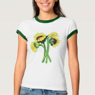 Camiseta T-shirt da campainha das senhoras dos girassóis