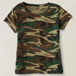 Camiseta T-shirt da camuflagem das mulheres