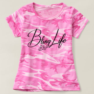 Camiseta T-shirt da camuflagem das mulheres da vida de