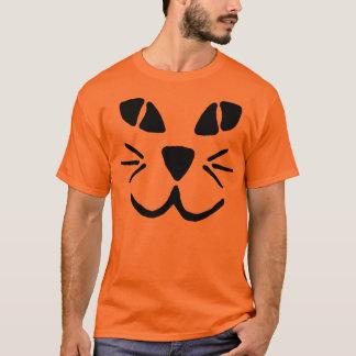 Camiseta T-shirt da cara da abóbora da Gato-o-Lanterna
