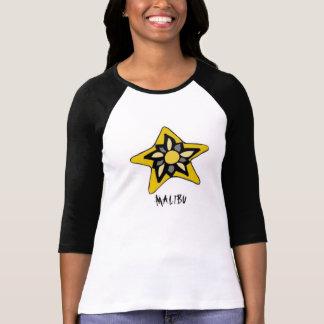 Camiseta T-shirt da cor do dobro da luva das mulheres meio