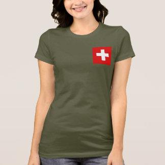 Camiseta T-shirt da DK da bandeira e do mapa da suiça