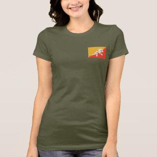 Camiseta T-shirt da DK da bandeira e do mapa de Bhutan