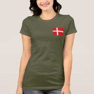 Camiseta T-shirt da DK da bandeira e do mapa de Dinamarca