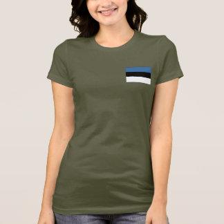 Camiseta T-shirt da DK da bandeira e do mapa de Estónia