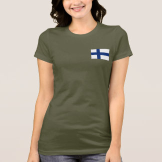 Camiseta T-shirt da DK da bandeira e do mapa de Finlandia