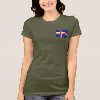 Camiseta T-shirt da DK da bandeira e do mapa de Islândia