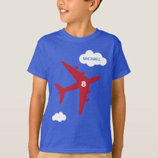 Camiseta T-shirt da festa de aniversário do avião do miúdo