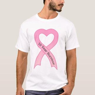 Camiseta T-shirt da fita do rosa do sobrevivente de 10 anos