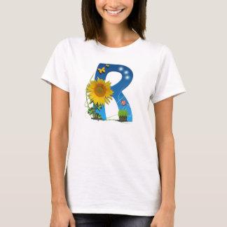 Camiseta T-shirt da flor do sol da letra de R