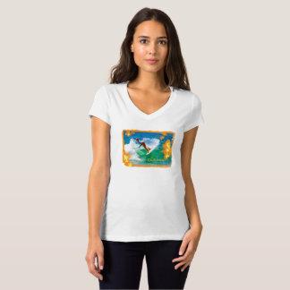 Camiseta T-shirt da laranja do V-Pescoço de Bella das