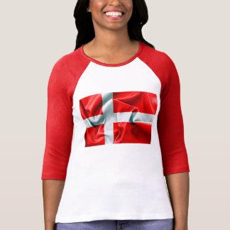 Camiseta T-shirt da luva da bandeira 3/4 de Dinamarca