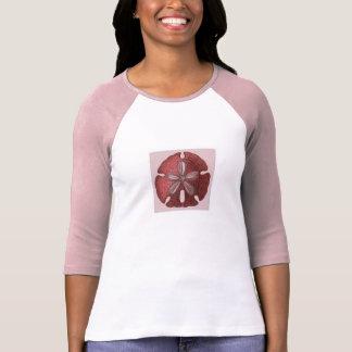 Camiseta T-shirt da luva do rosa e do branco 3/4 com dólar