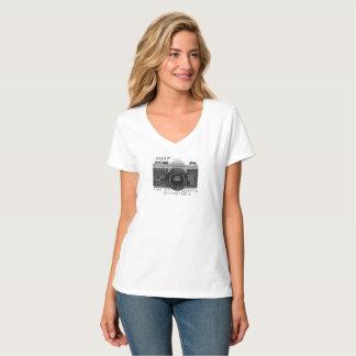 Camiseta T-shirt da luva do short da fotografia da câmara