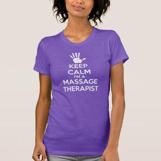 Camiseta T-shirt da massagem: Mantenha a calma, terapeuta