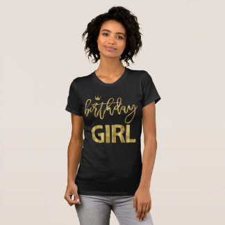 Camiseta T-shirt da menina do aniversário do efeito do ouro