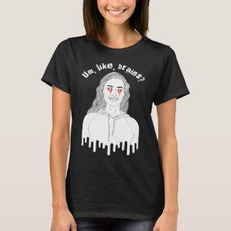 """Camiseta T-shirt da menina do zombi """"Um, como, cérebros? """""""