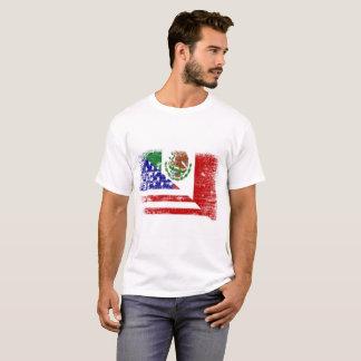 Camiseta T-shirt da mistura da bandeira do méxico-americano