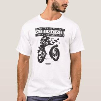 Camiseta T-shirt da motocicleta - objetos no espelho
