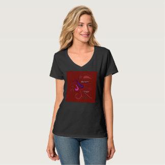 Camiseta T-shirt da mulher com marrom dos ornamento