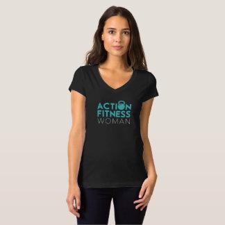 Camiseta T-shirt da mulher da malhação da ação - parte