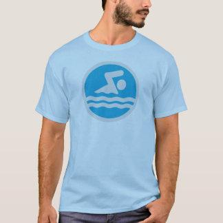 Camiseta T-shirt da natação do azul & do branco para