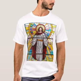 Camiseta T-shirt da pintura mural do vitral do Jesus Cristo