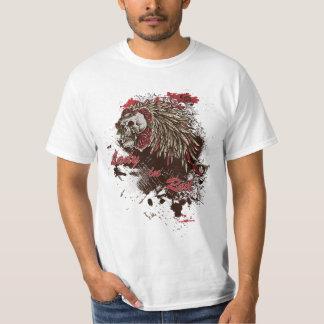 Camiseta T-shirt da senhora Vermelho Crânio Grunge