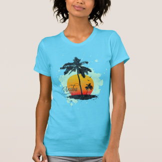 Camiseta T-shirt da silhueta da palmeira de Aruba