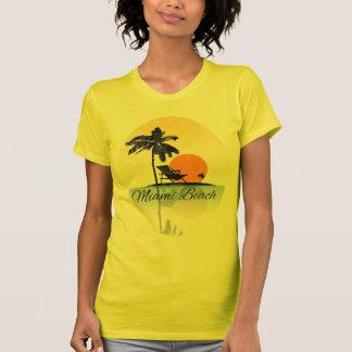Camiseta T-shirt da silhueta da palmeira de Miami Beach do