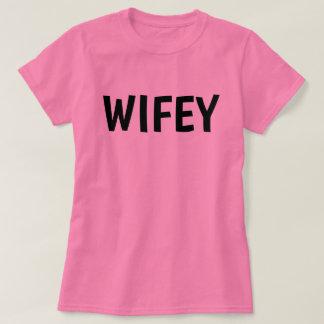 Camiseta T-shirt da tintura do laço do rosa da ESPOSA de