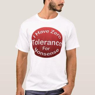 Camiseta T-shirt da tolerância zero