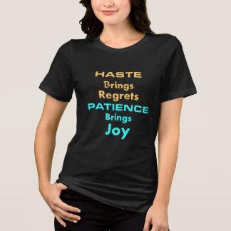 Camiseta T-shirt das meninas para a paciência