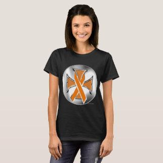 Camiseta T-shirt das senhoras da cruz do ferro do câncer de