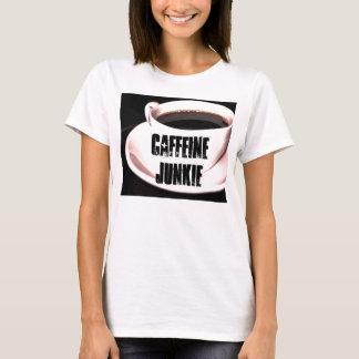 Camiseta T-shirt das senhoras do toxicómano da cafeína