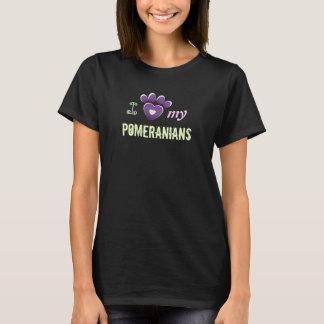 Camiseta T-shirt das senhoras eu amo meu Pomeranians