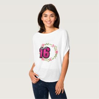 Camiseta T-shirt de 16 Sweeet para o Spakle cor-de-rosa das