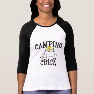 Camiseta T-shirt de acampamento das senhoras do pintinho