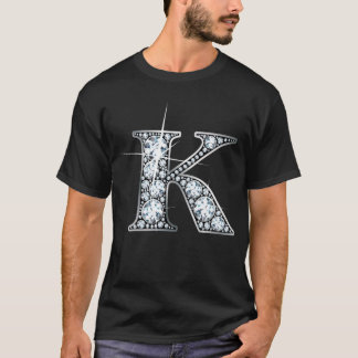 """Camiseta T-shirt de Bling do diamante de """"K"""""""